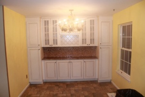 Kitchen cabinets and backsplash