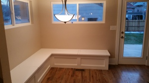 Custom benches in the kitchen nook